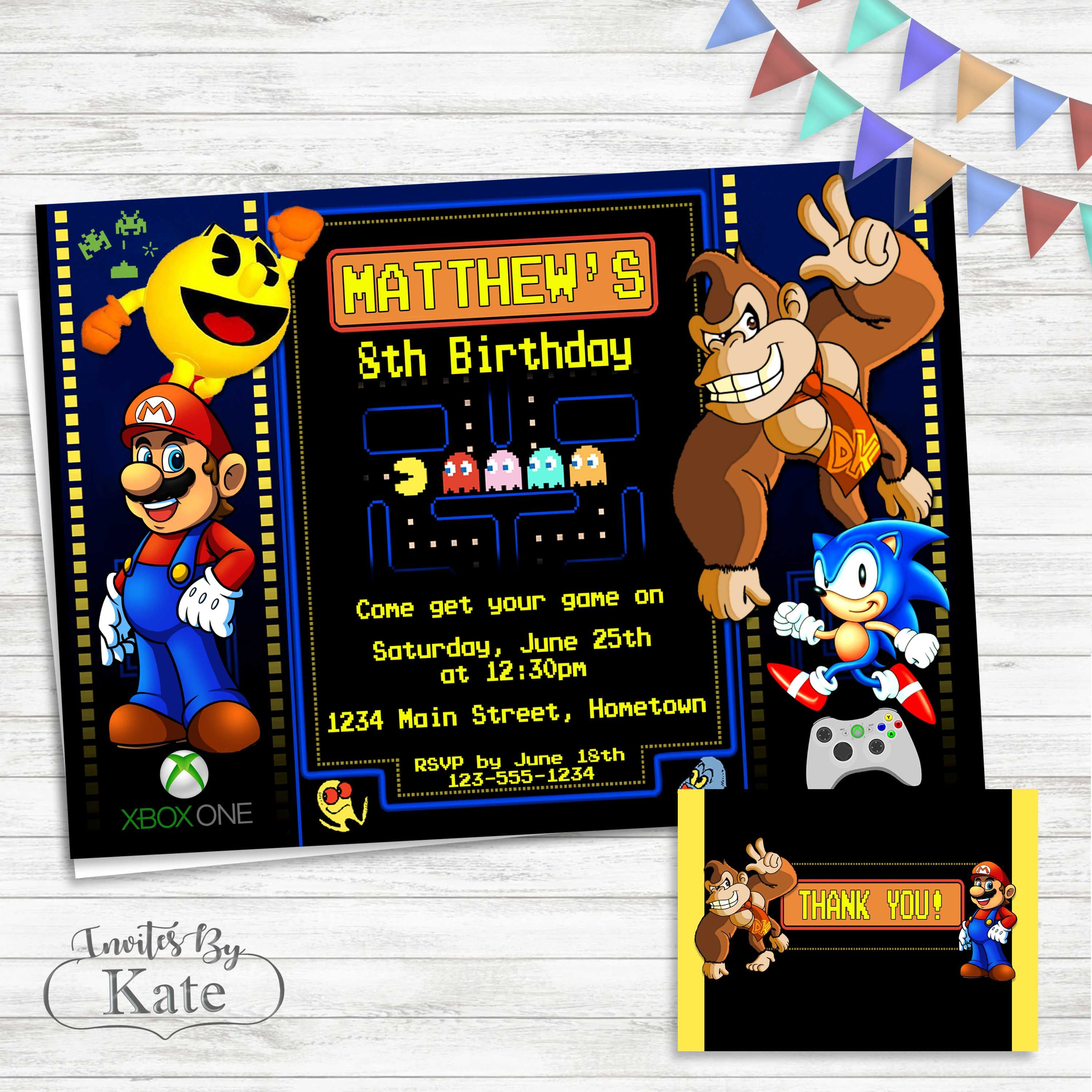 arcade video game birthday invitation personalized for you