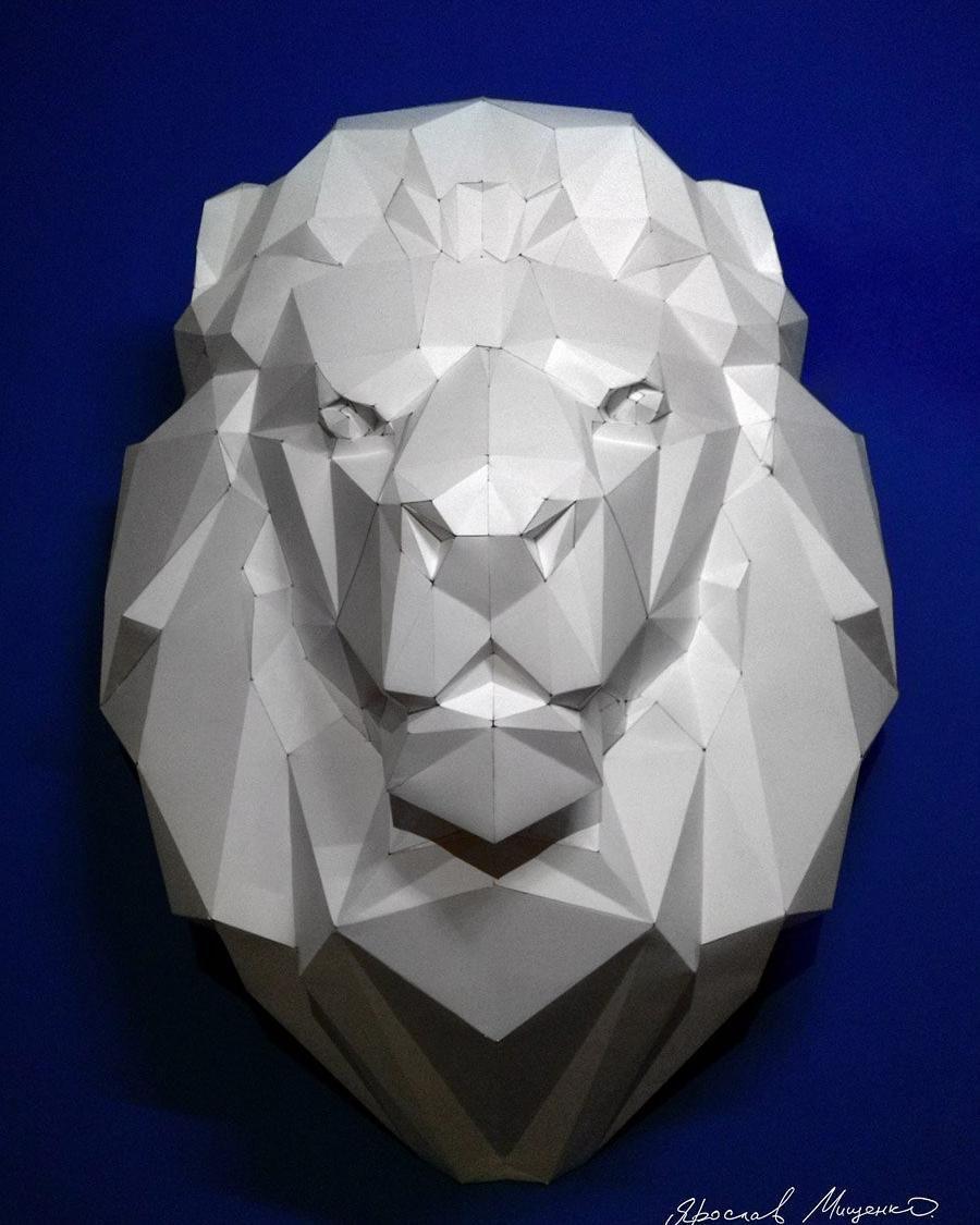 lowpoly #lion #trophy #papercraft #animal #lasercut #polygonalpaper