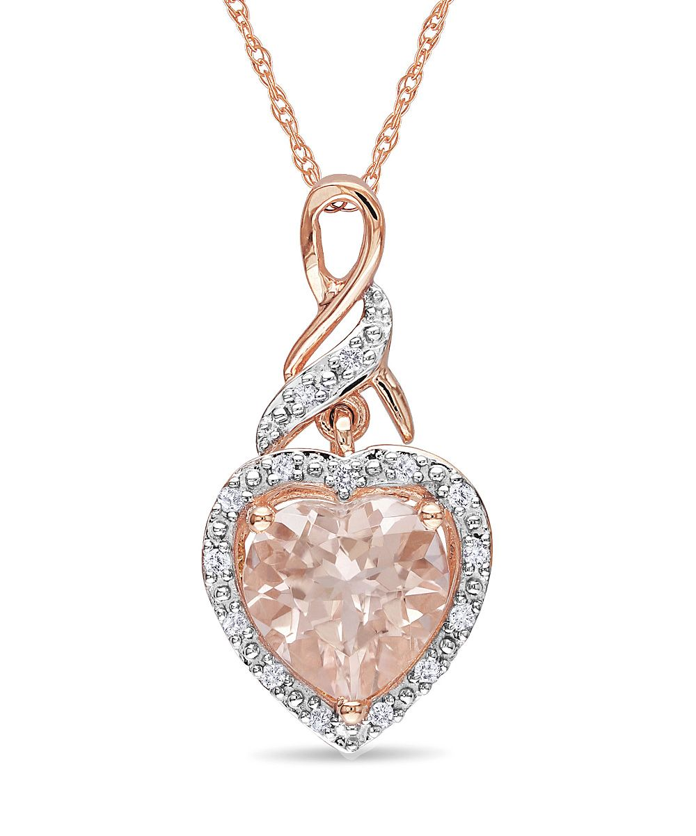 Fine Jewelry Womens Pink Morganite 10K Gold Pendant Necklace SmAoi4N