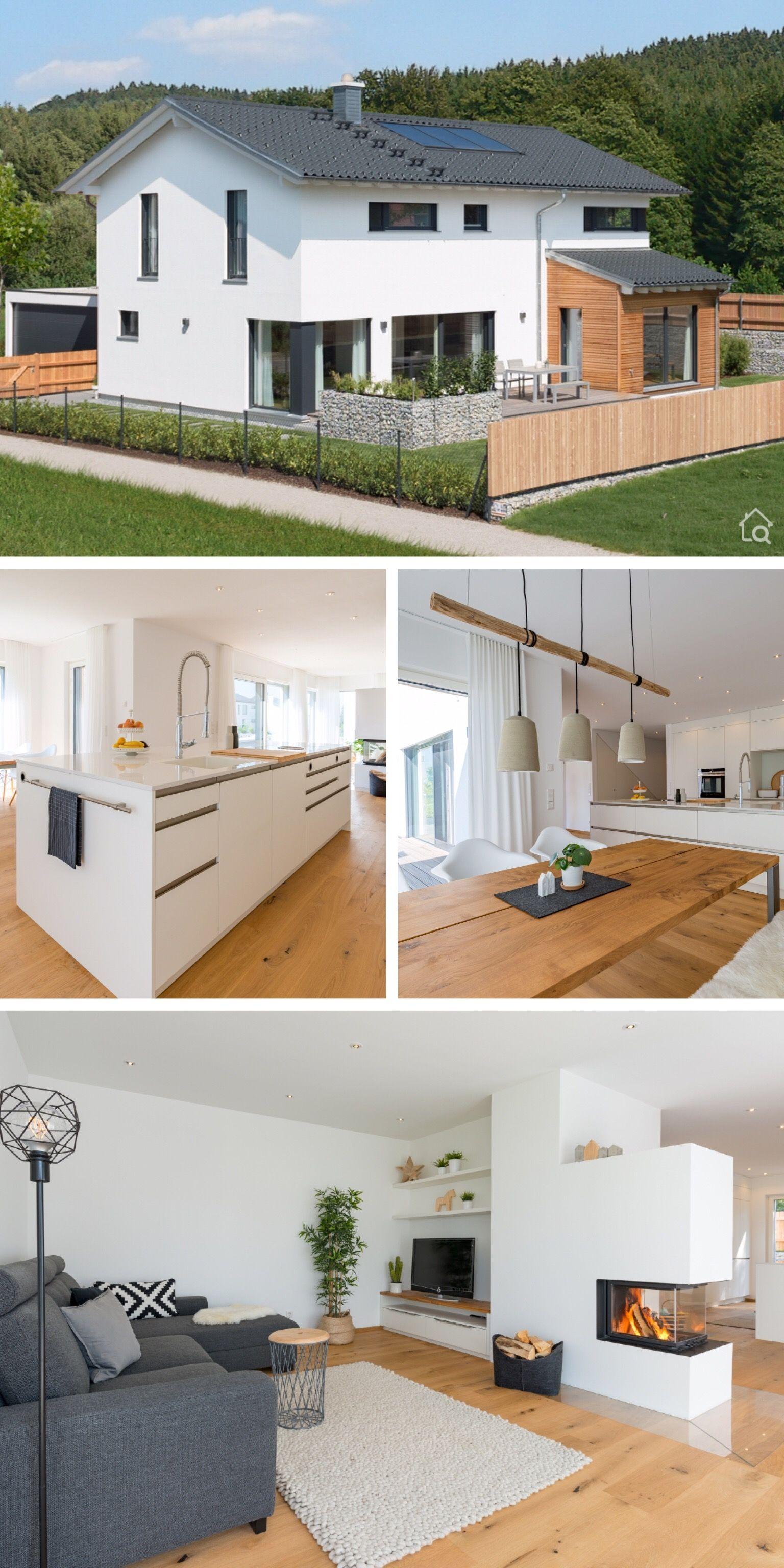 Modernes Landhaus Mit Holz Putz Fassade Satteldach Architektur Grundriss Offe Ev Zemin Planlari Modern Mimari Ev Mimarisi