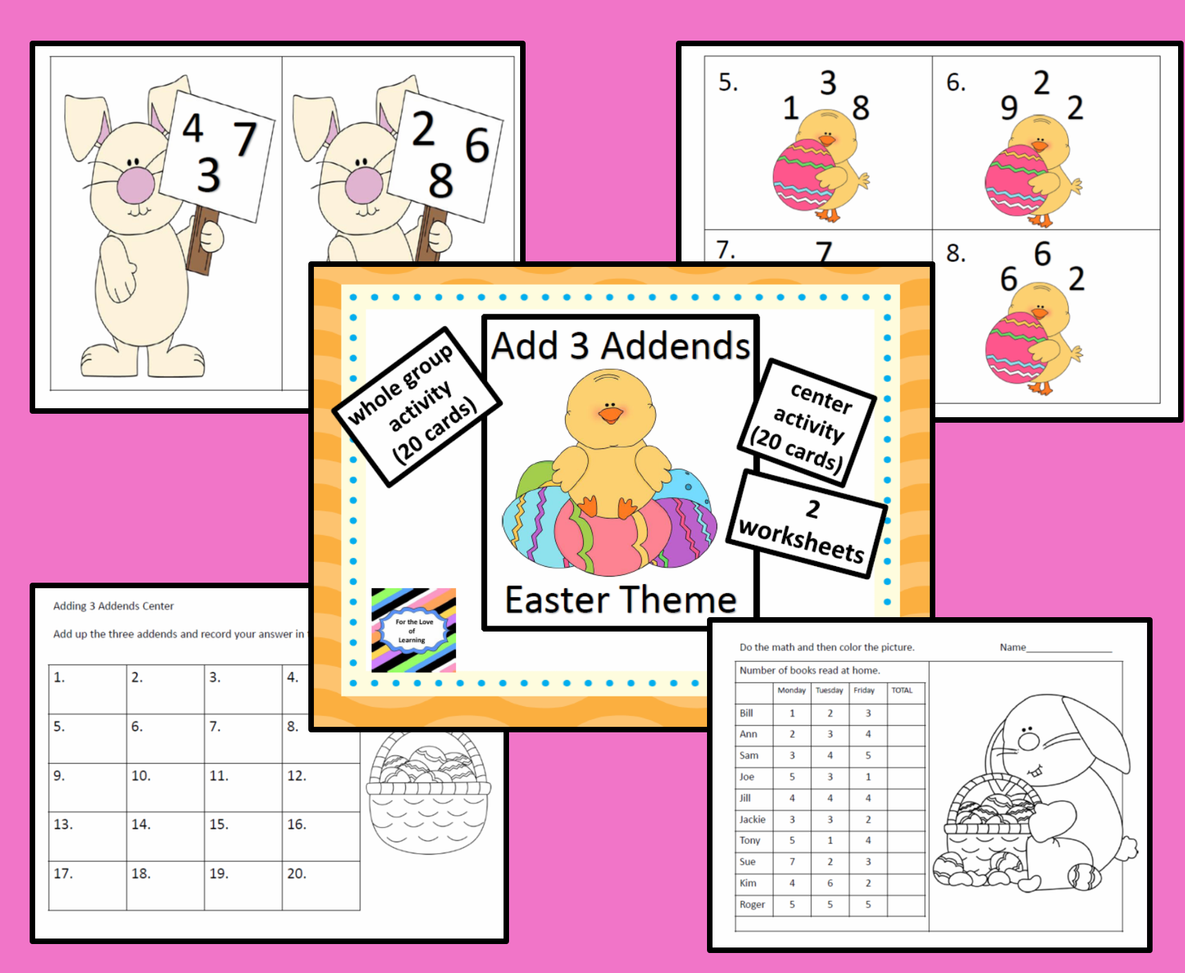 Add 3 Single Digit Addends Whole Group Task Cards Worksheets Easter
