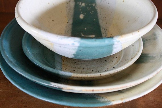 Hey, I found this really awesome Etsy listing at http://www.etsy.com/listing/158987913/speckled-white-turquoise-wheel-thrown