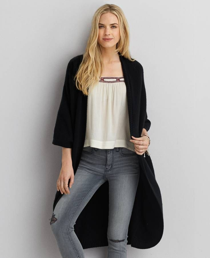 American Eagle Oversized Cocoon Cardigan, Women's, Black ...