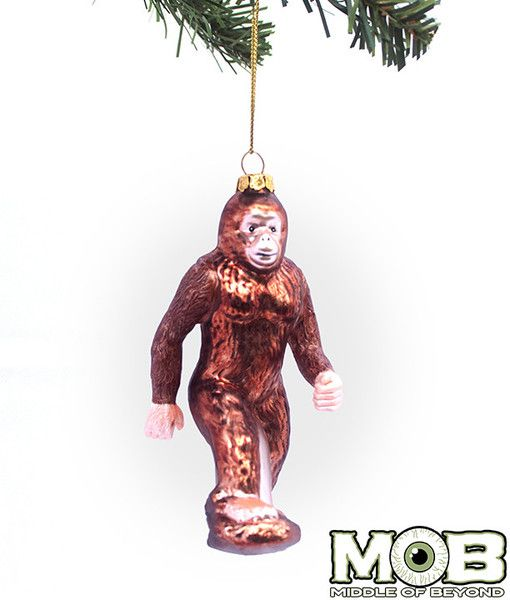 bigfoot sasquatch glass christmas ornament cool funny best ugly stupid monster skunk ape yeti grassman cryptozooology - Bigfoot Christmas Ornament