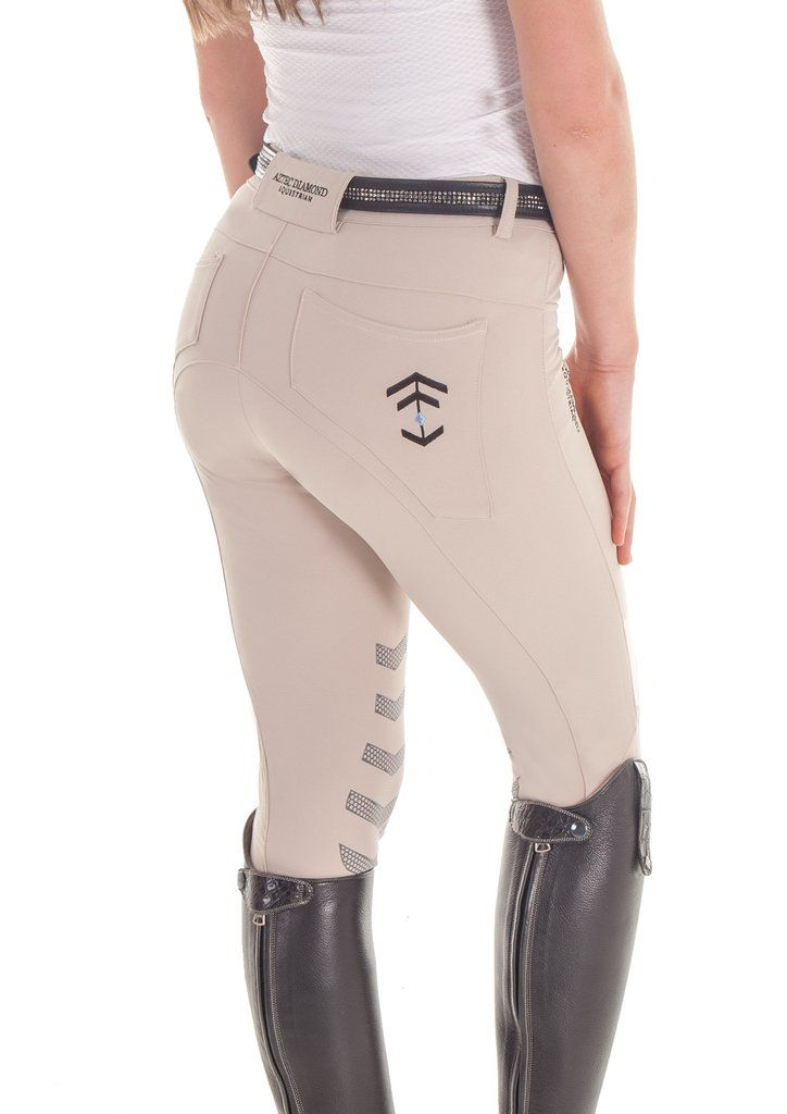 Beige Technical Breeches Aztec Diamond Equestrian Uk