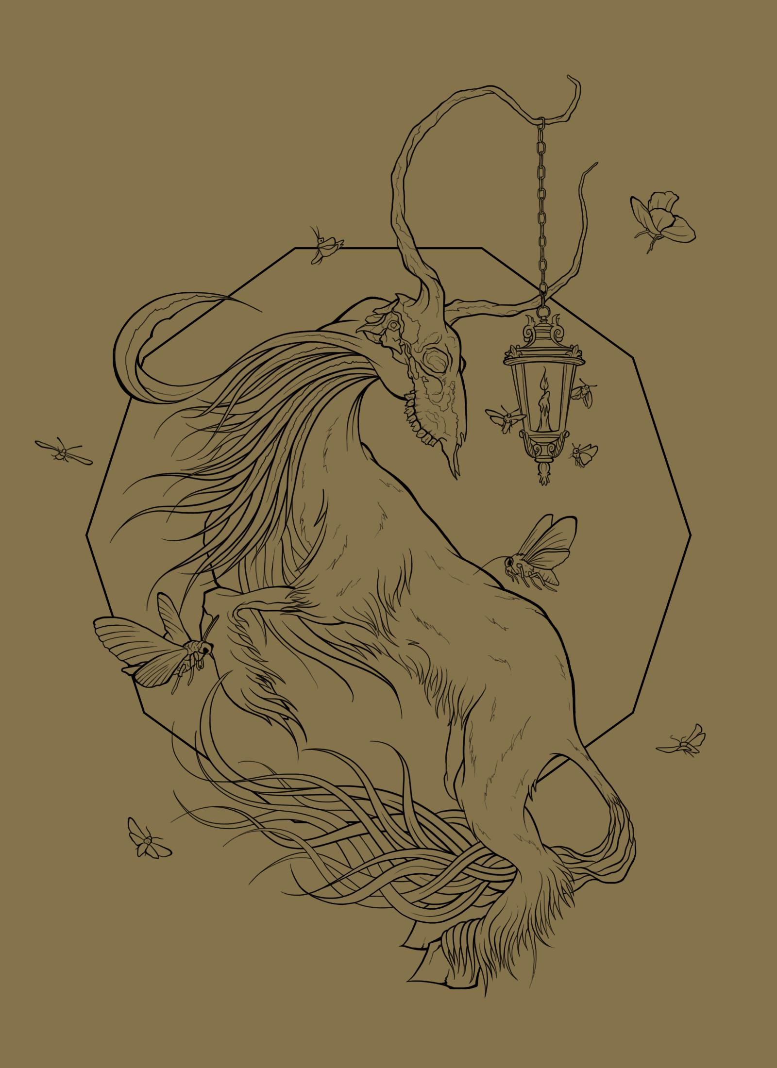 """Gatekeeper"" poster, colour design 1.  #Gatekeeper #Illustration #Art #Poster #Animal #Deer #Moth #Mystical #Fantasy"