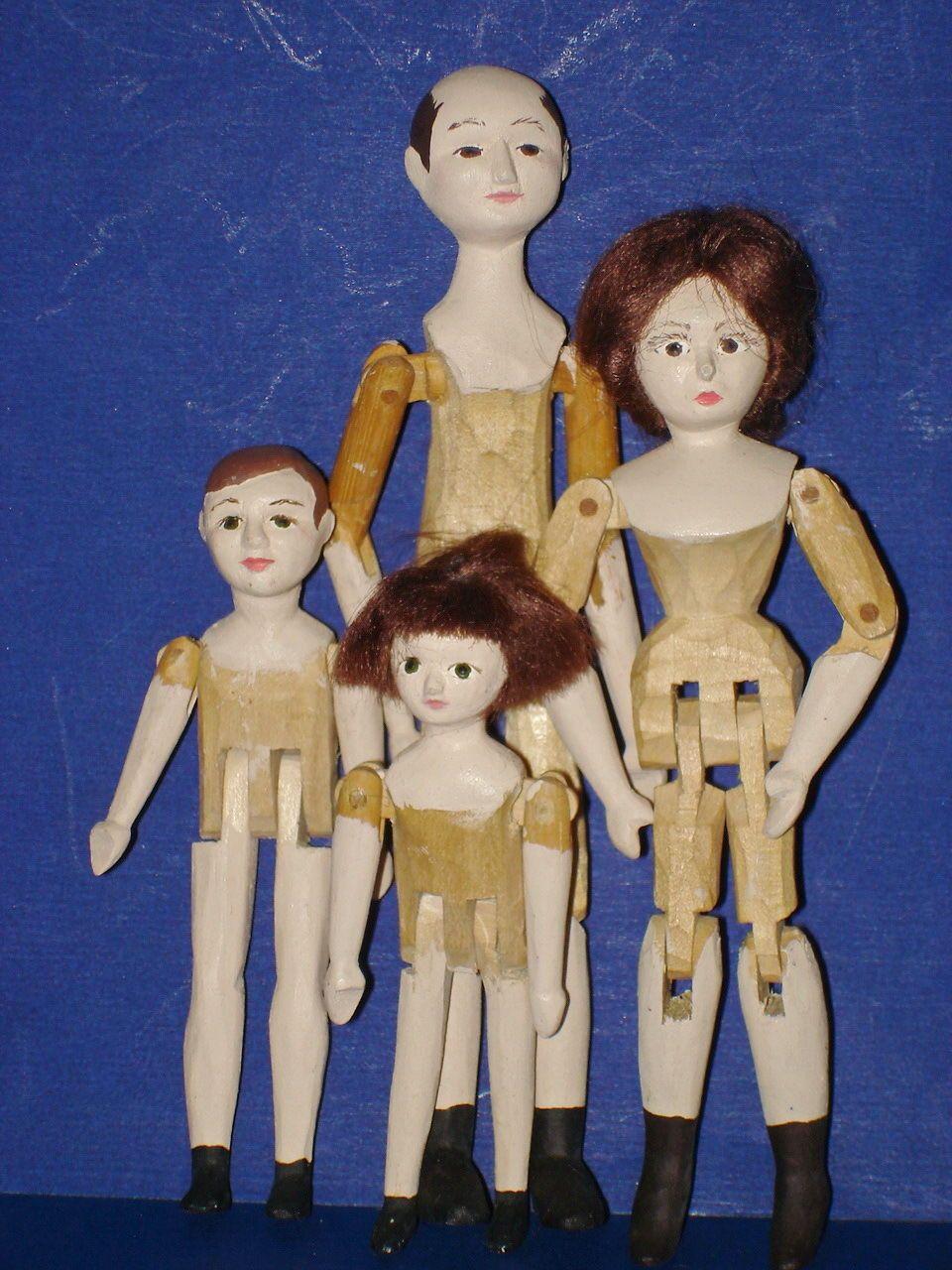 Mystery Artist Jointed Peg Wooden Dollhouse Family Dolls 1984 | eBay
