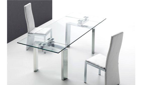 mesa de comedor extensible de cristal extragrueso y acero