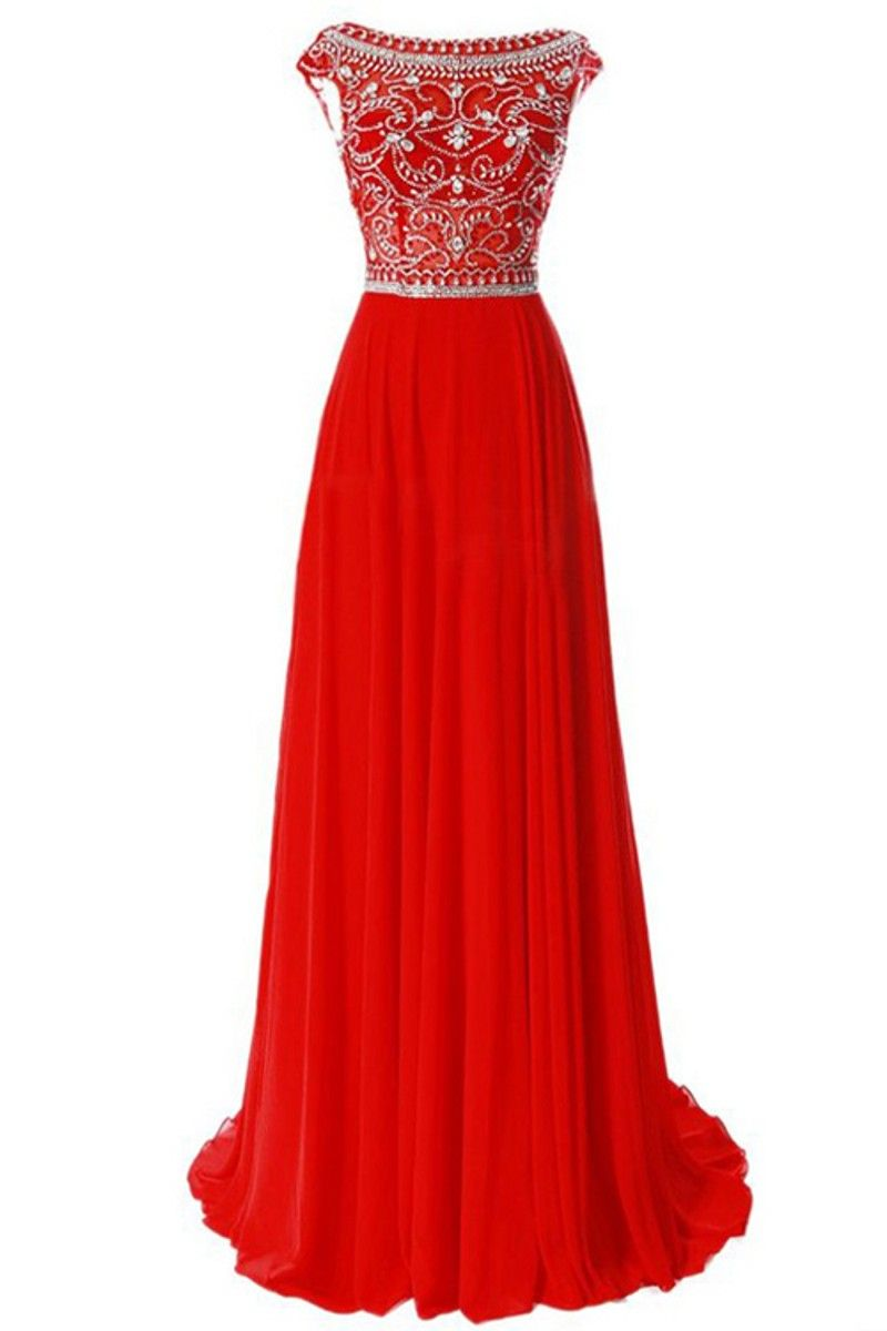 Click to buy ucuc sparkly beaded aline chiffon red royal blue formal