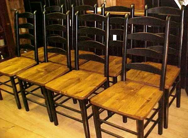 Love the black wood finish on ladder back chairs DINING ROOM