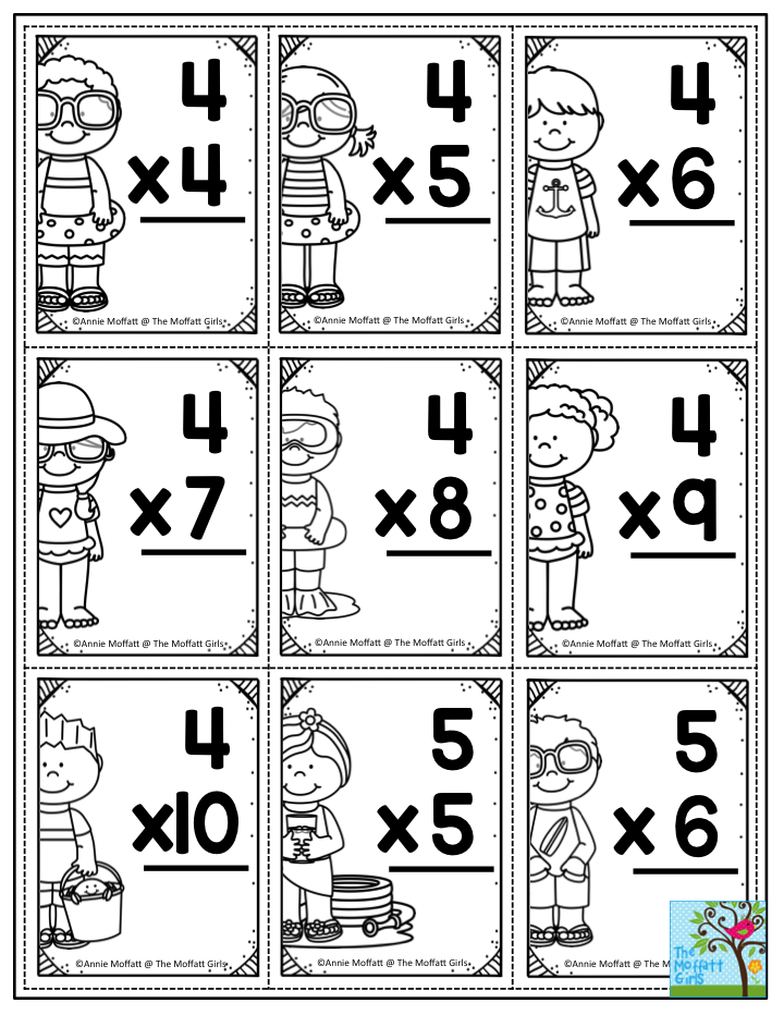 printable multiplication facts flash cards perfect for summer review these are in the summer. Black Bedroom Furniture Sets. Home Design Ideas