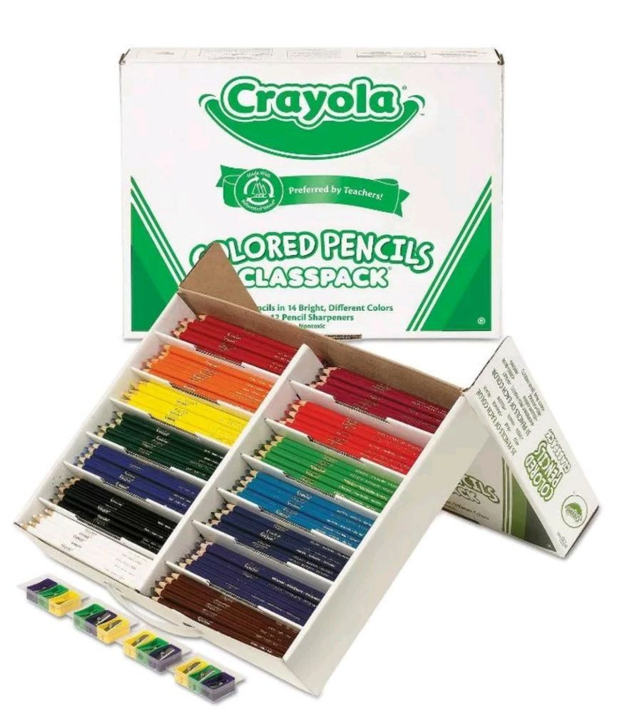 Non Toxic Crayola Drawing 462 Colored Pencils Wooden Class Pack