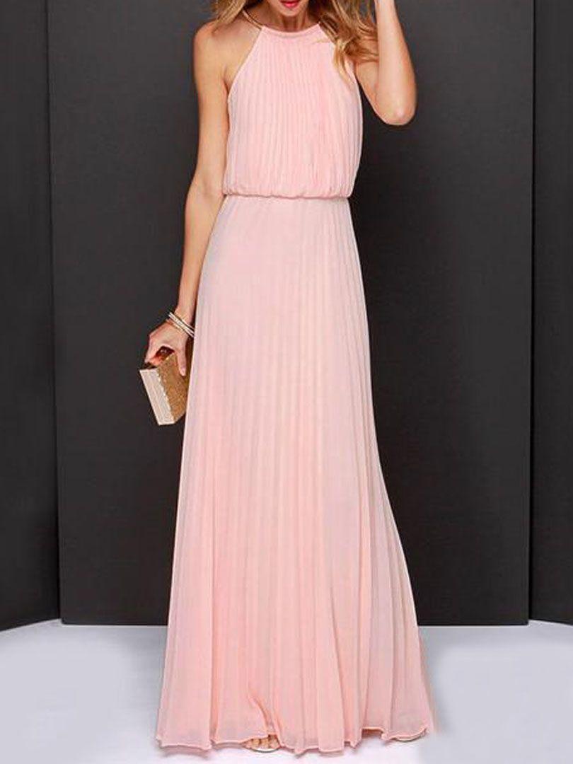 Peach Pink Cut Away Pleated Chiffon Maxi Dress | Mode femme ...