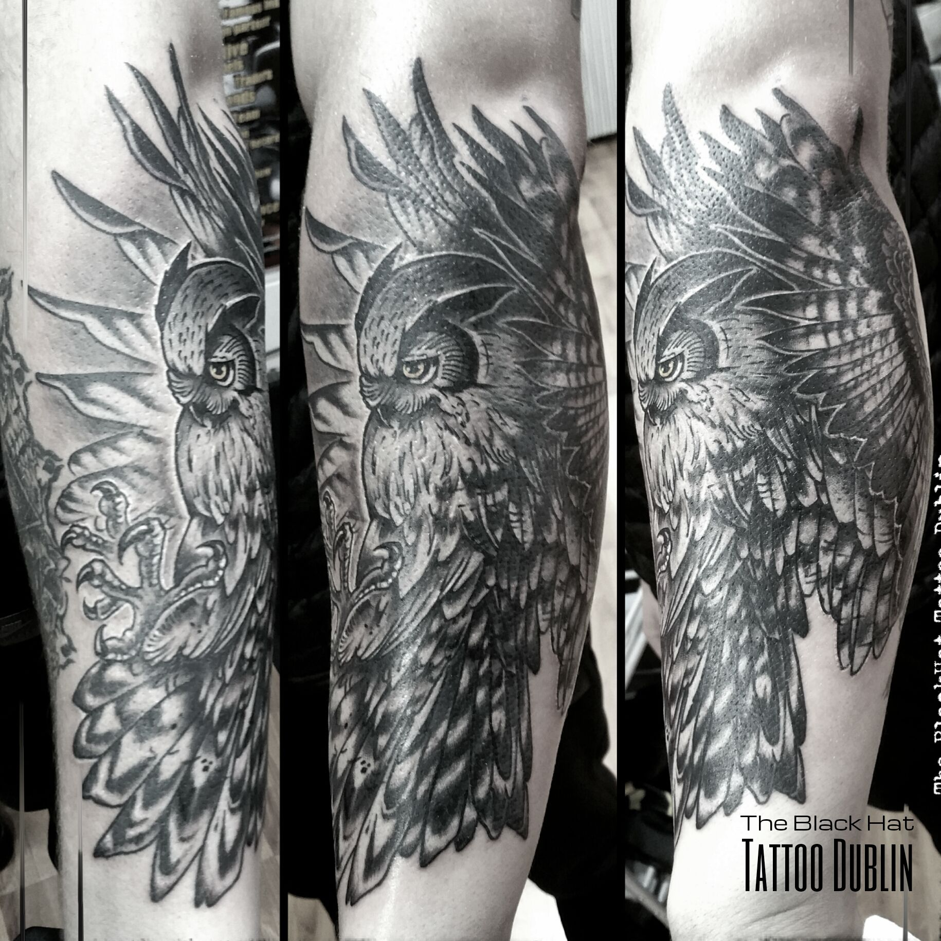 Neo Traditional Owl Tattoo Done By The Ink Master Blackhatsergy Traditional Owl Tattoos Traditional Tattoo Art Tattoo Dublin