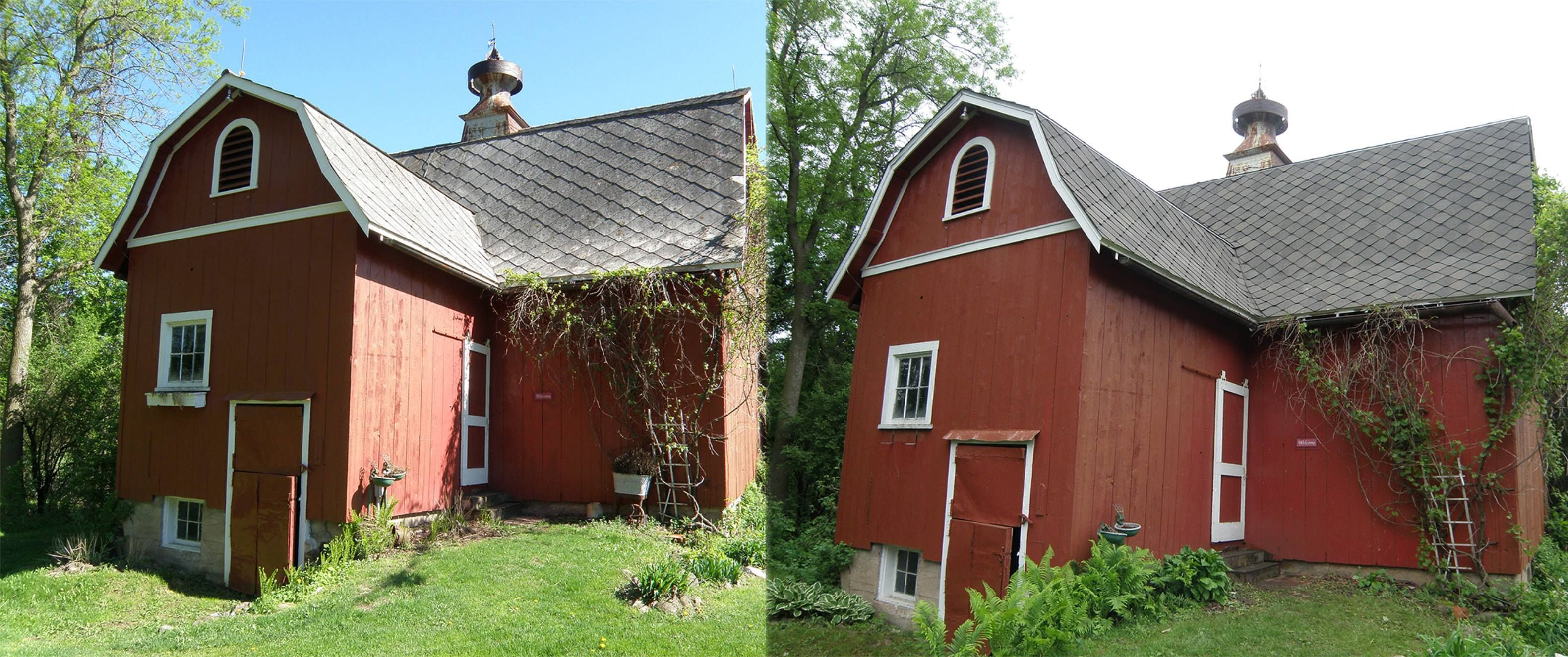 Before after pics of a hudson wi barn lindus for Gaf sienna shingles