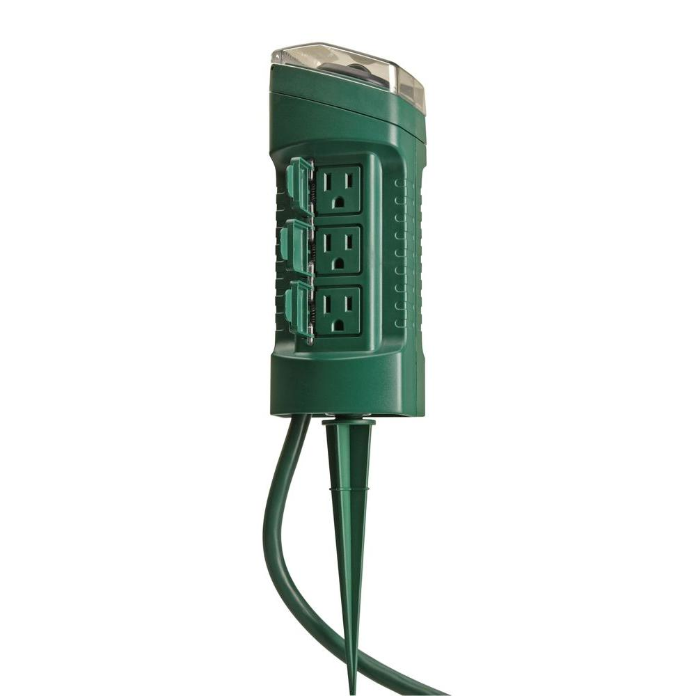 Woods 15 Amp Outdoor Plug In Photocell Light Sensor 6 Outlet Yard Stake Timer With 6 Ft Cord Green 13547wd The Home Depot In 2020 Light Sensor Solar Light Crafts Mini Solar Lights