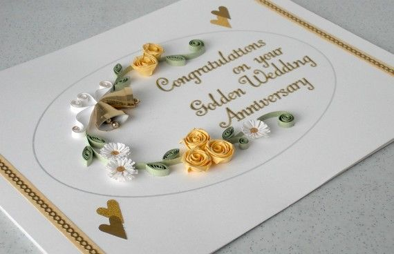 50th anniversary card golden wedding quilled paper quilling