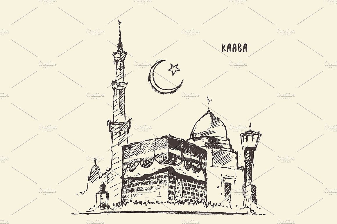 Holy Kaaba In Mecca Saudi Arabia Hand Drawn Vector Illustrations Business Icons Design Hand Drawn Vector
