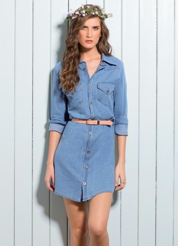 275544403aff Vestido Jeans Manga Longa - Quintess | vestidos em 2019 | Vestido ...