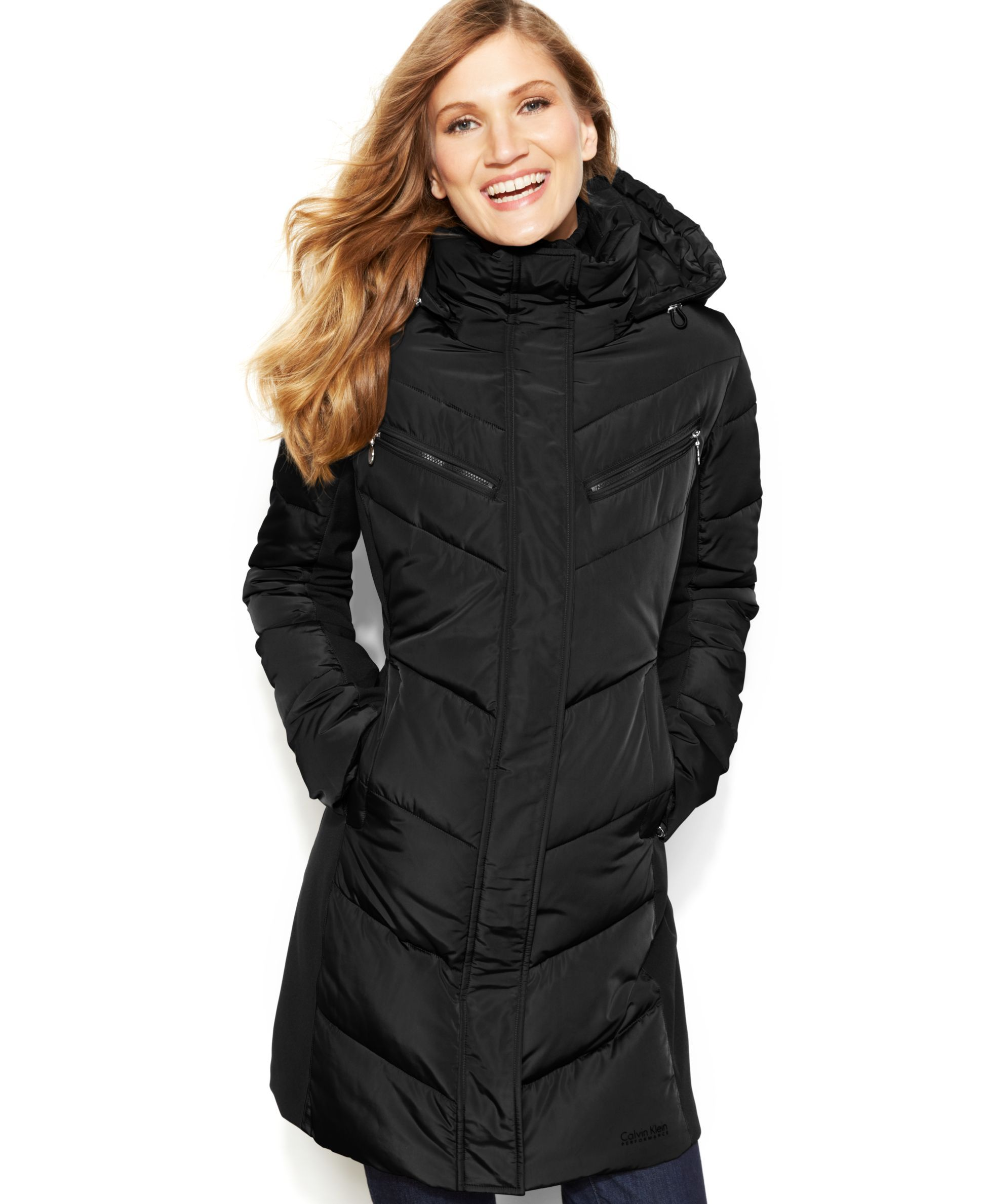 Black, small Calvin Klein Hooded Quilted Colorblock Puffer Coat ...