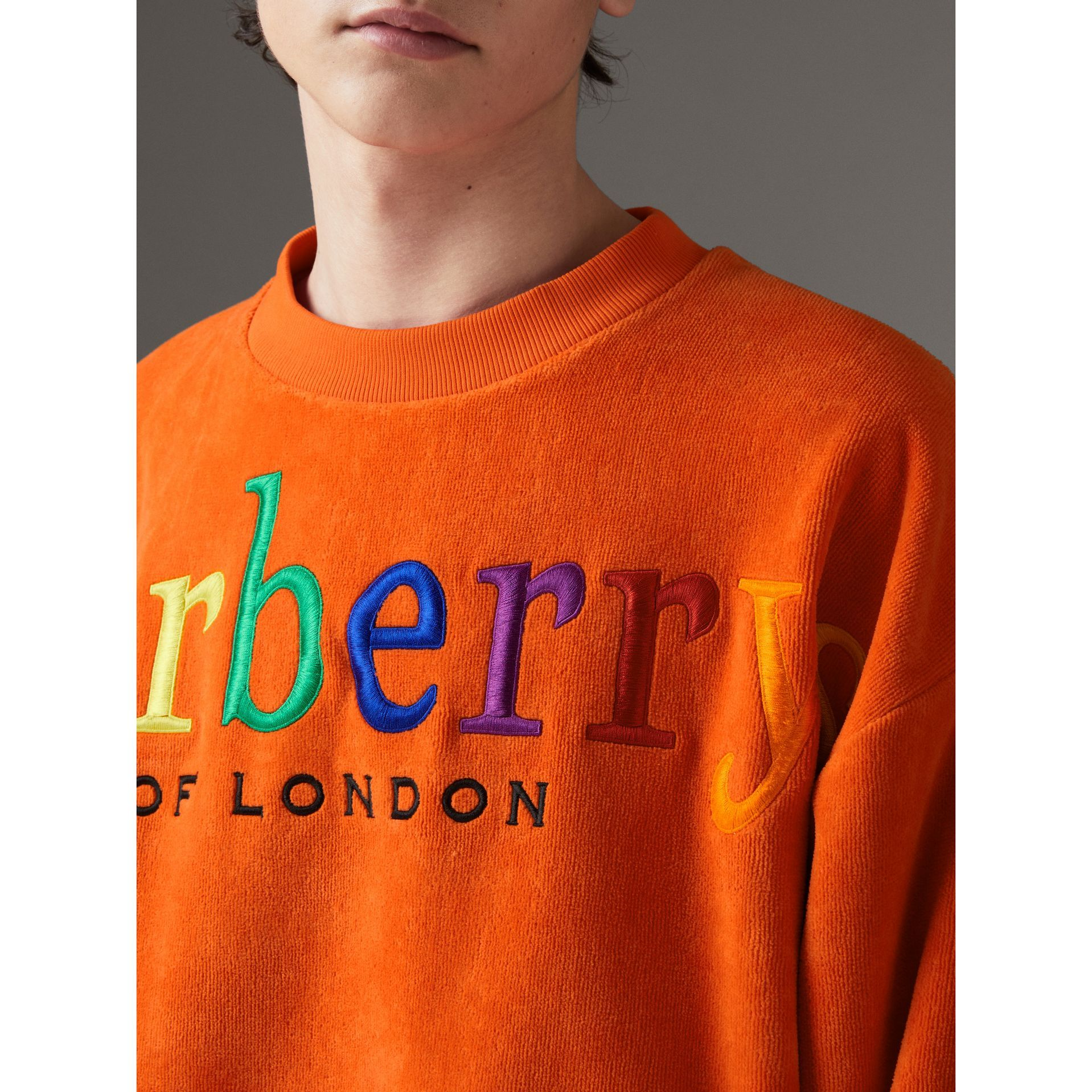56a25bcc Archive Logo Towelling Sweatshirt in Tangerine | Burberry Canada