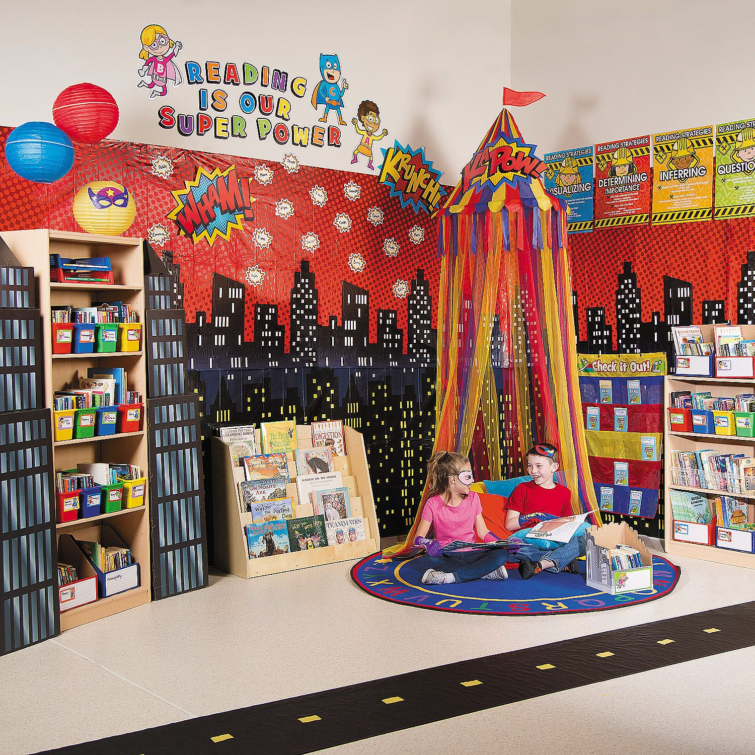 Classroom Book Ideas ~ Superhero reading corner idea orientaltrading