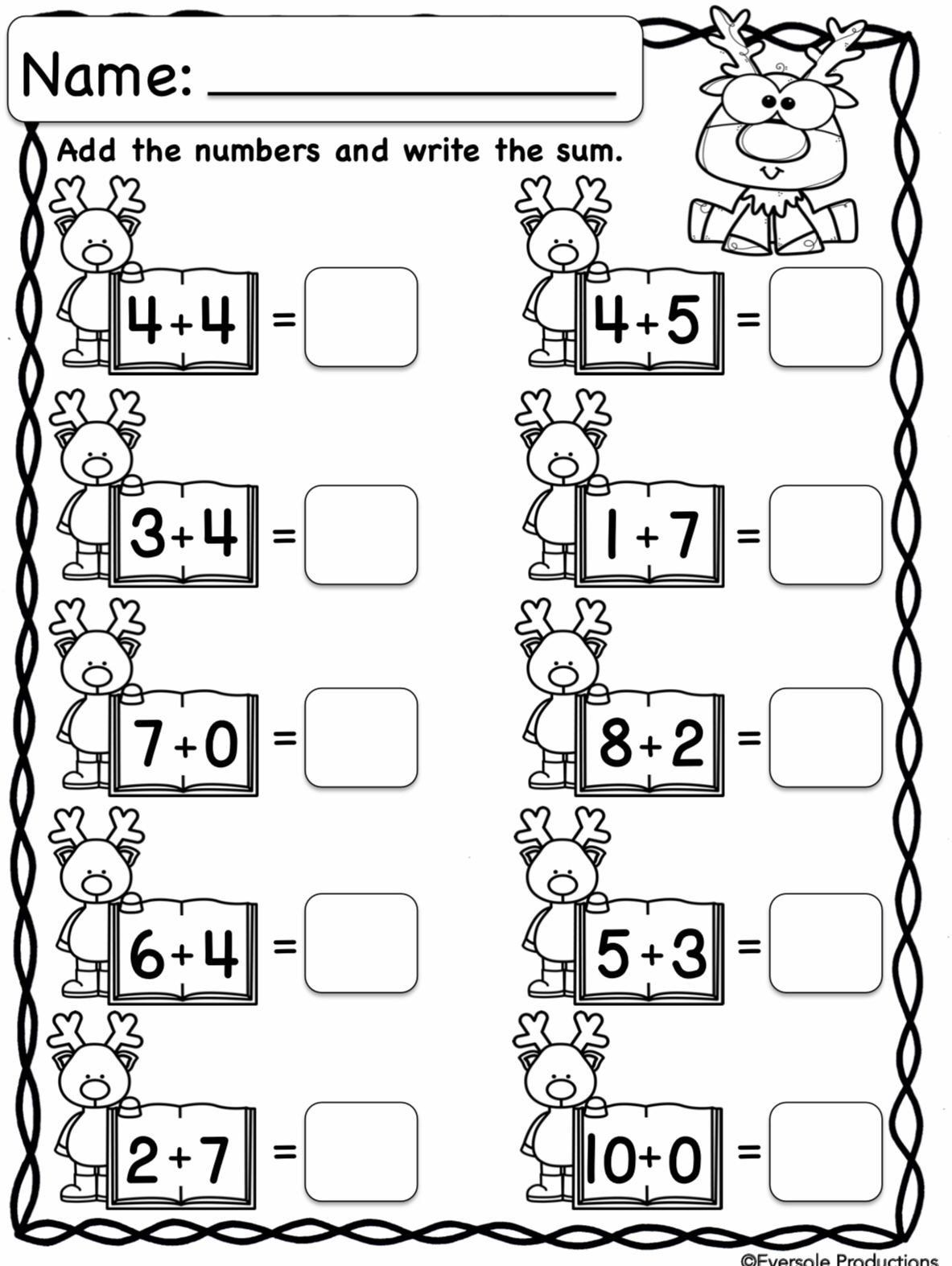 Adding And Subtracting Worksheets Kindergarten Christmas