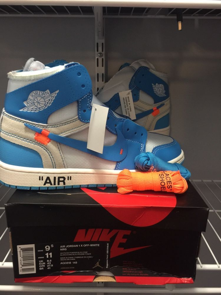 Nib Nike Air Jordan 1 X Off White Nrg Unc Powder Blue High Top