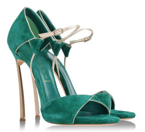 Casadei green and gold 'Blade sandals