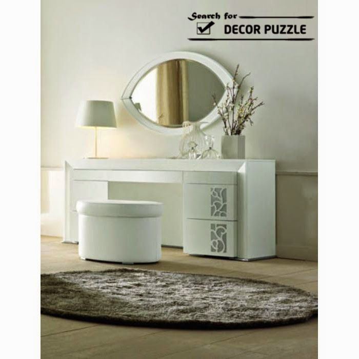 White modern dressing table designs for bedroom oval for Dressing table design 2014