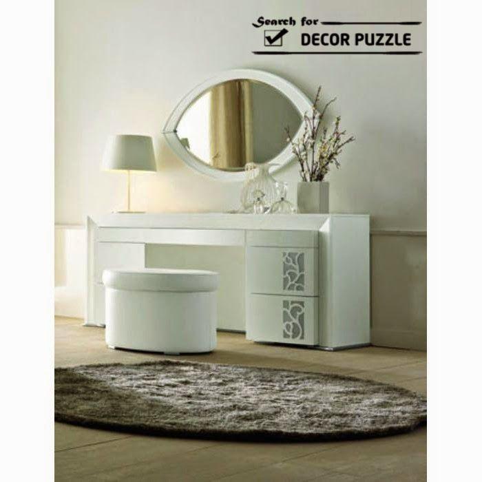 white modern dressing table designs for bedroom, oval