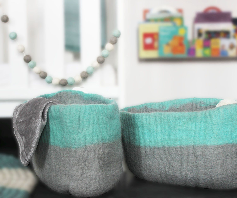 Small Felt Storage Basket Blue And Grey Basket Nursery Storage
