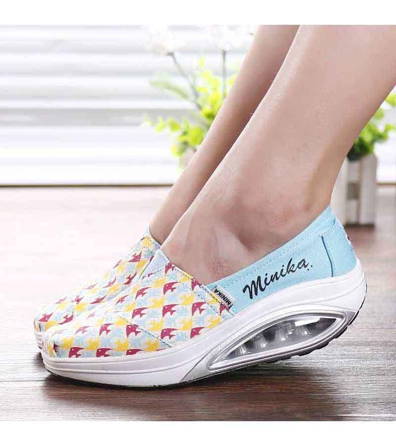 Women's #blue slip on #rocker bottom sole shoe sneakers pattern design, sewing thread, lightweight, Shock absorption sole, casual, leisure occasions.