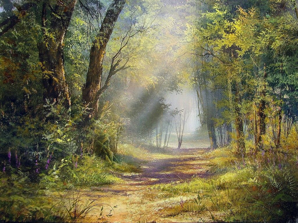 Pin By Rebecca Chargin On Tree Forest Paintings Landscape Paintings Landscape Art Forest Landscape