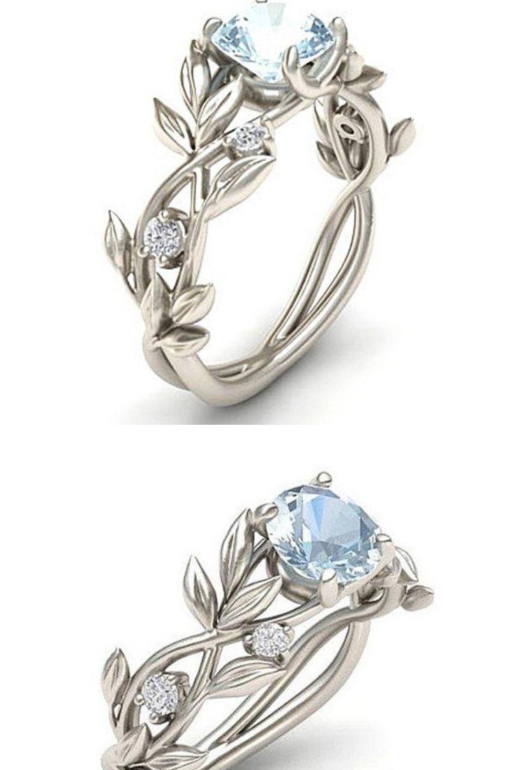 Vine Leaf Crystal Flower Vintage Ring Cheap Wedding