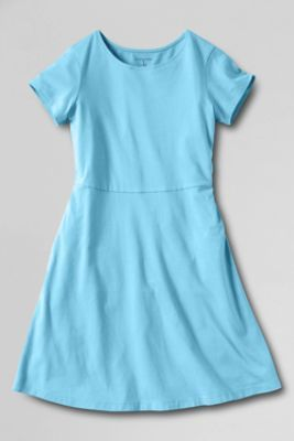 Girls' Short Sleeve Solid A-line Dress from Lands' End