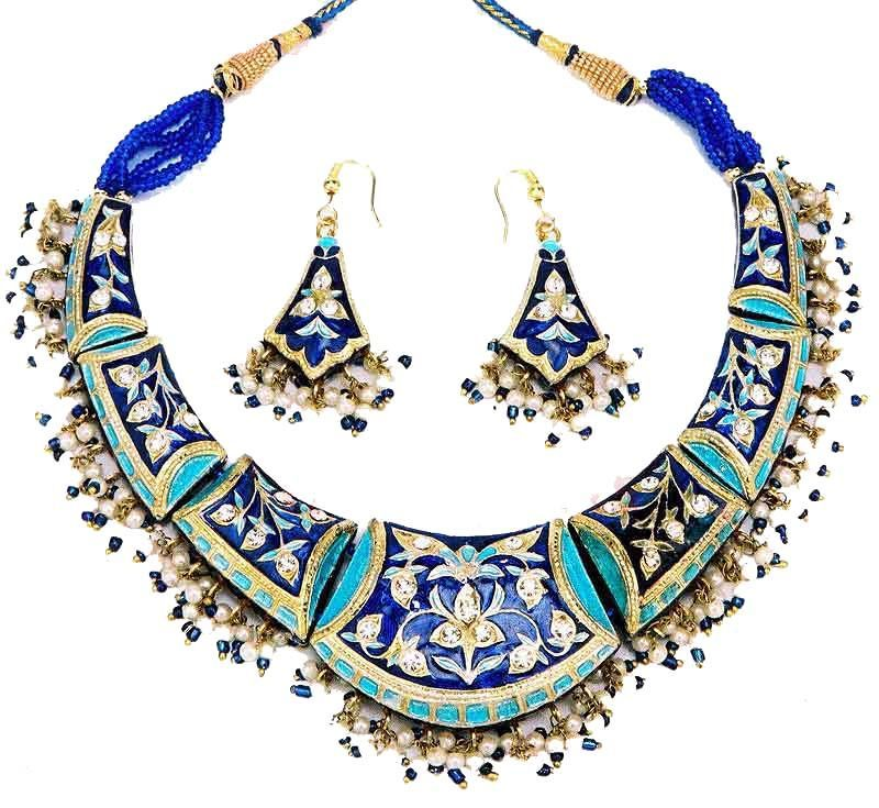 Blue toned Indian fashion jewellery necklace and earrings from Venkatraman Jewels of Jaipur India.