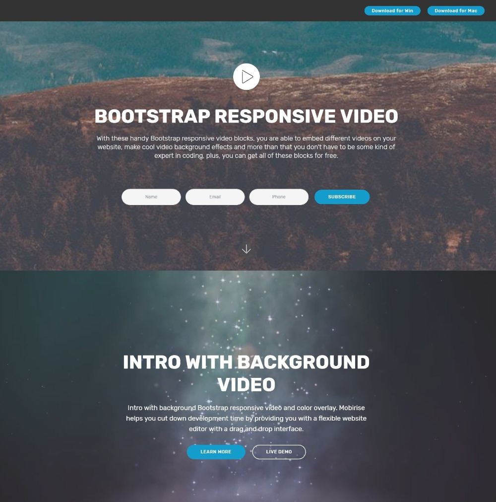 Breathtaking Css Bootstrap Carousel Video Backgrounds And Dropdown Regarding Drop Down Menu Templates Free Css Website Templates Menu Template Video Background