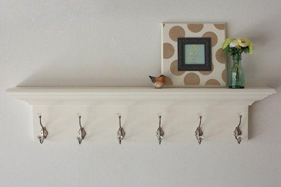 Coat Rack Wood Wall Shelf Floating White In Multiple Lengths 36