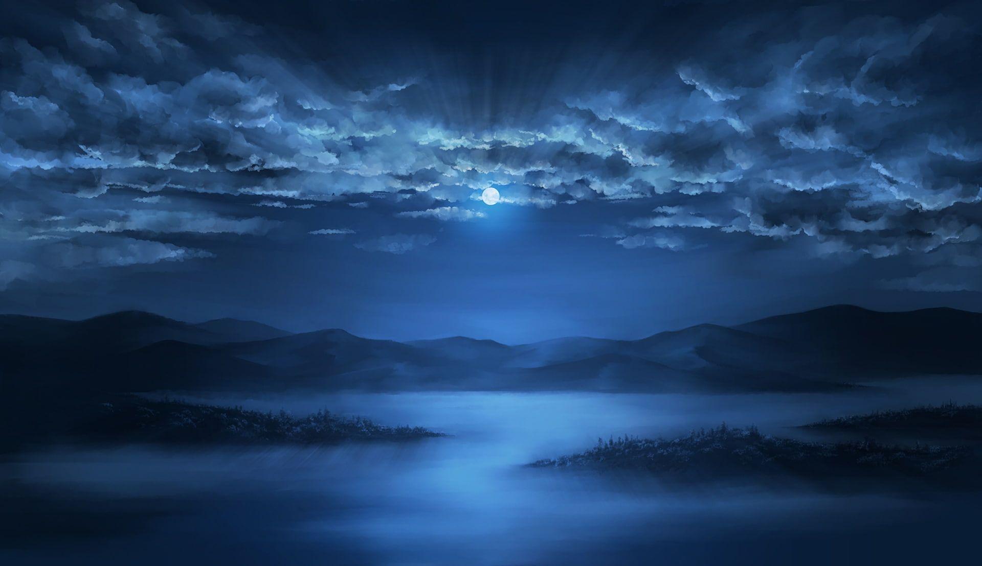 Anime Landscape Night Moon Clouds Sky Lake Artwork Anime 1080p Wallpaper Hdwallpaper Desktop Lake Artwork Anime Scenery Scenery Background