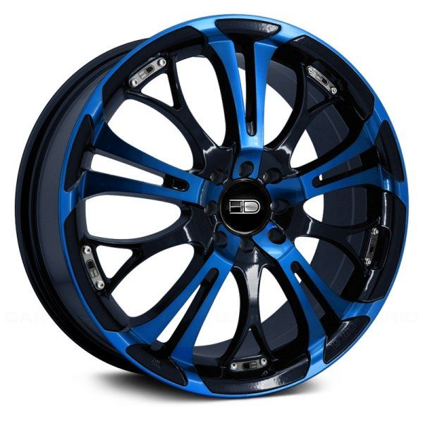 Hd Spinout Gloss Black With Blue Face Pink Rims Rims For Cars Pink Wheels