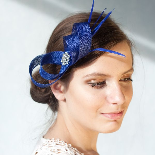 Blue Fascinator With Feathers Headpiece From Bechicaccessories By Dawanda Com Royal Blue Fascinator Bridesmaid Hair Accessories Blue Fascinator