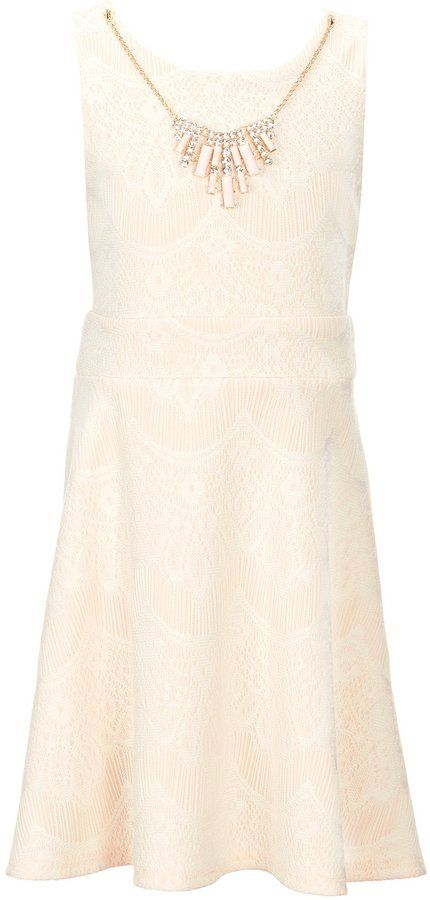 22889f888bbd Poppies and Roses Big Girls 7-16 Bonded Lace Fit-And-Flare Dress ...