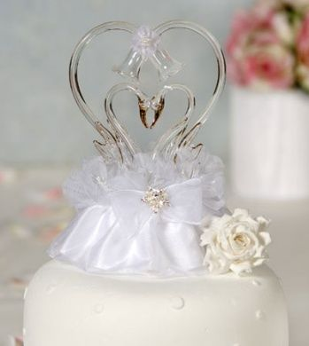 Wedding Cake Topper Glass Swan Toppers With Heart