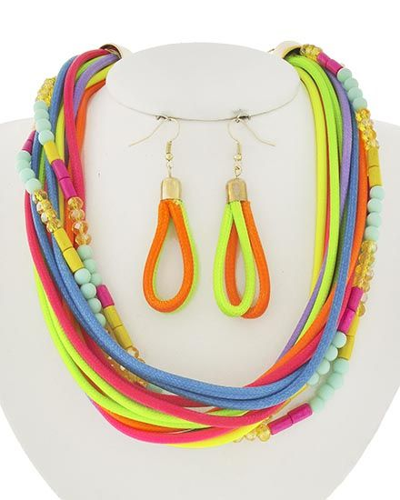 Gold Tone / Multi Color Acrylic & Cord / Lead&nickel Compliant / Fish Hook (earrings) / Multi Strand / Necklace & Earring Set
