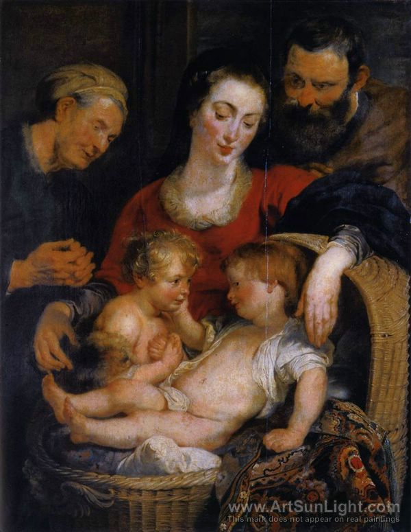 Handpainted Oil painting Madona /& Christ Child St.John The Baptist old people AA