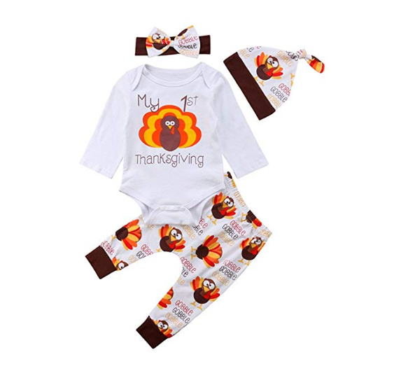 31cc888e2af 4Pcs My 1st Thanksgiving Baby Outfits Long Sleeve Romper Top Turkey Pant  with Headband Hat Newborn