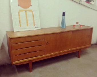 Credenza Danese Anni 50 : Sideboard credenza madia legno quercia design danese anni 50 vintage