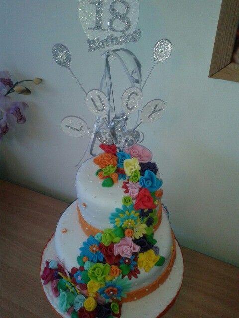 Waterfall flower 18th birthday  cake
