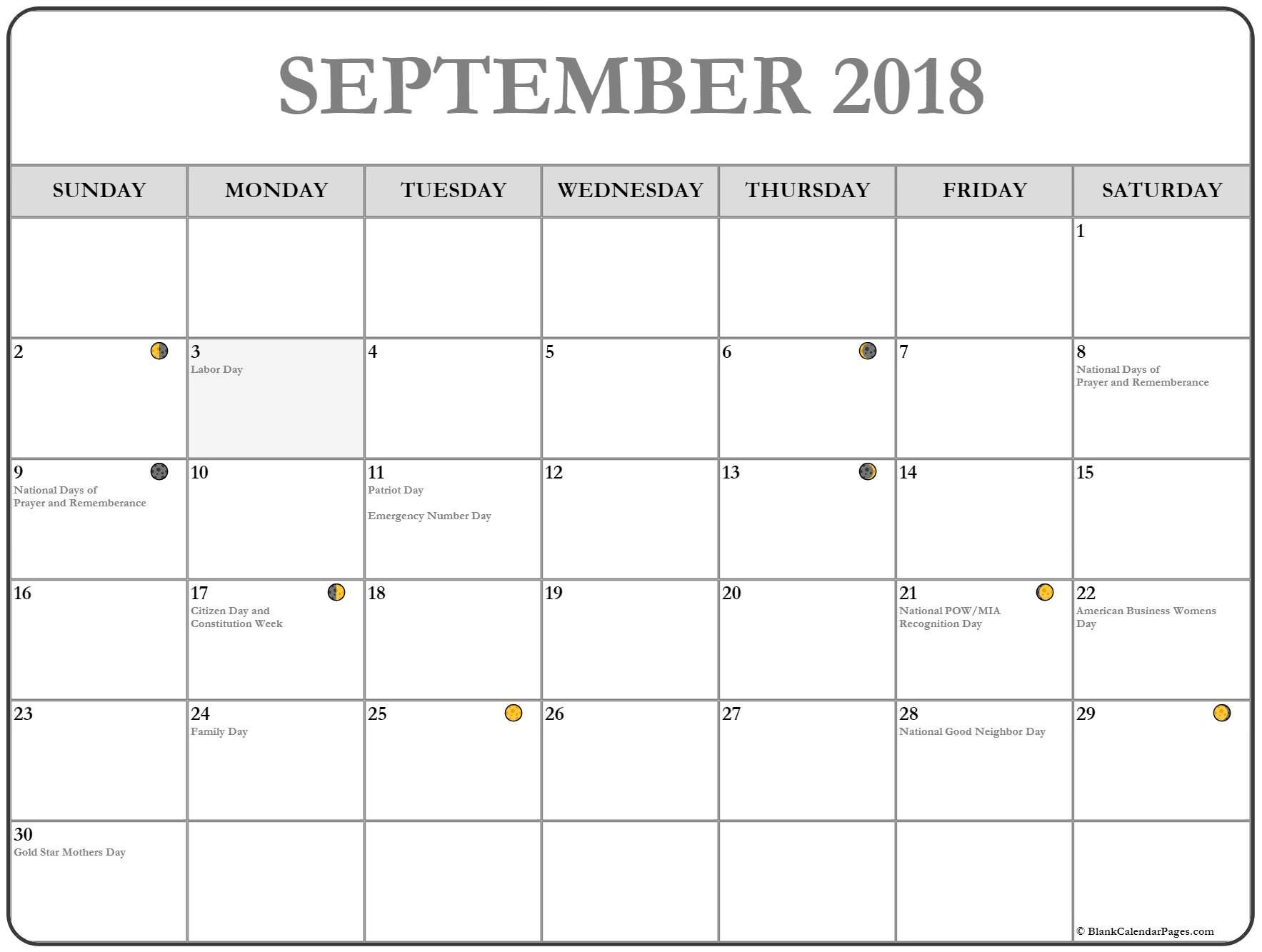 Calendar September Moon Phase September Lunar